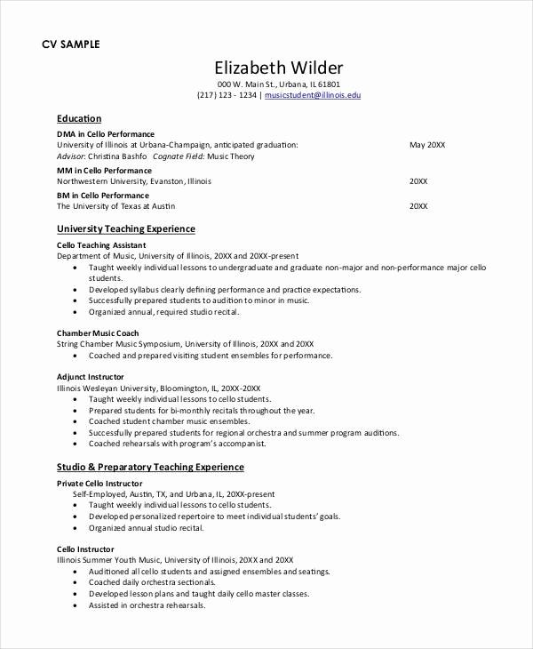 Cv Example For Teaching Job Grossartig 11 Doc Resume Examples Education Jobs Of