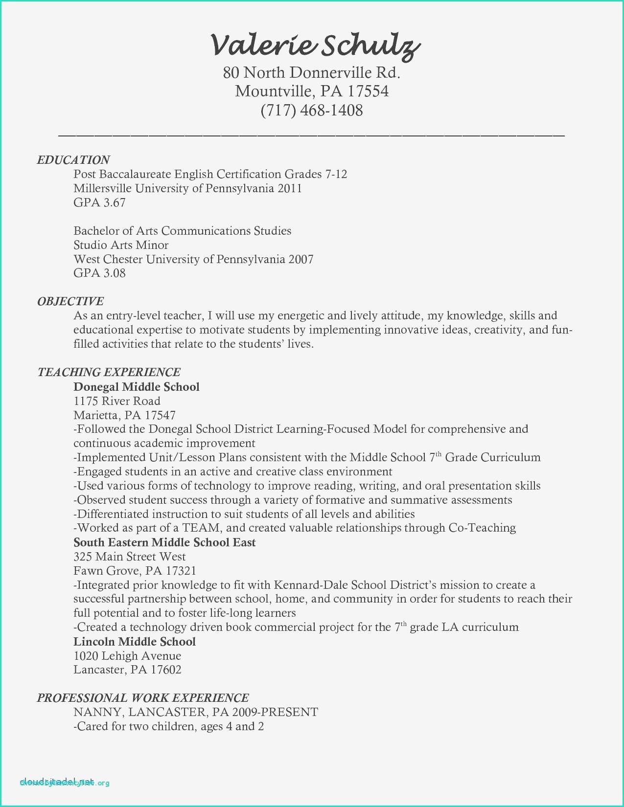 Cv Example For Teaching Job Neu Sample Resume Of