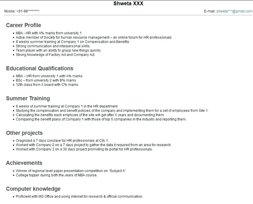 Bca Fresher Resume Format Download Pdf Best Resume Examples
