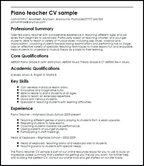 cv format for teacher job in india
