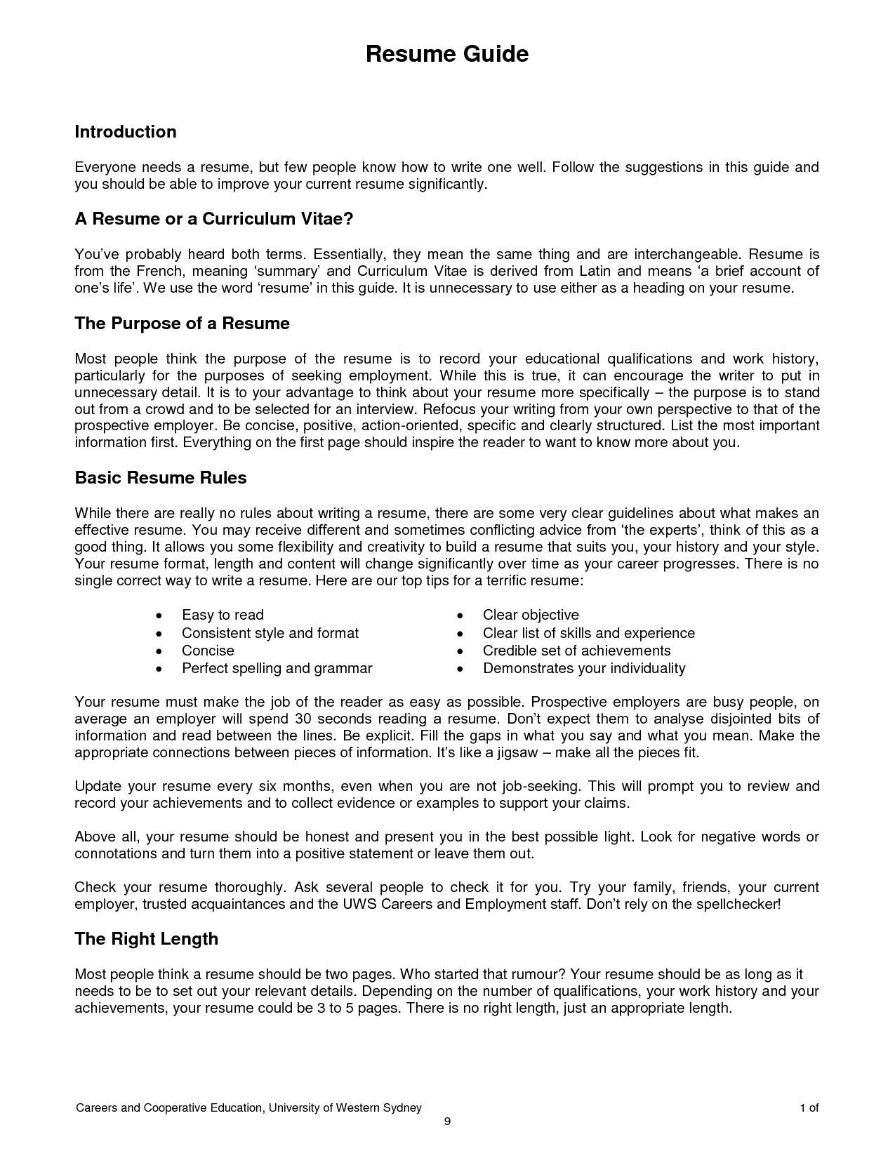 Basic Resume Examples Pdf 58