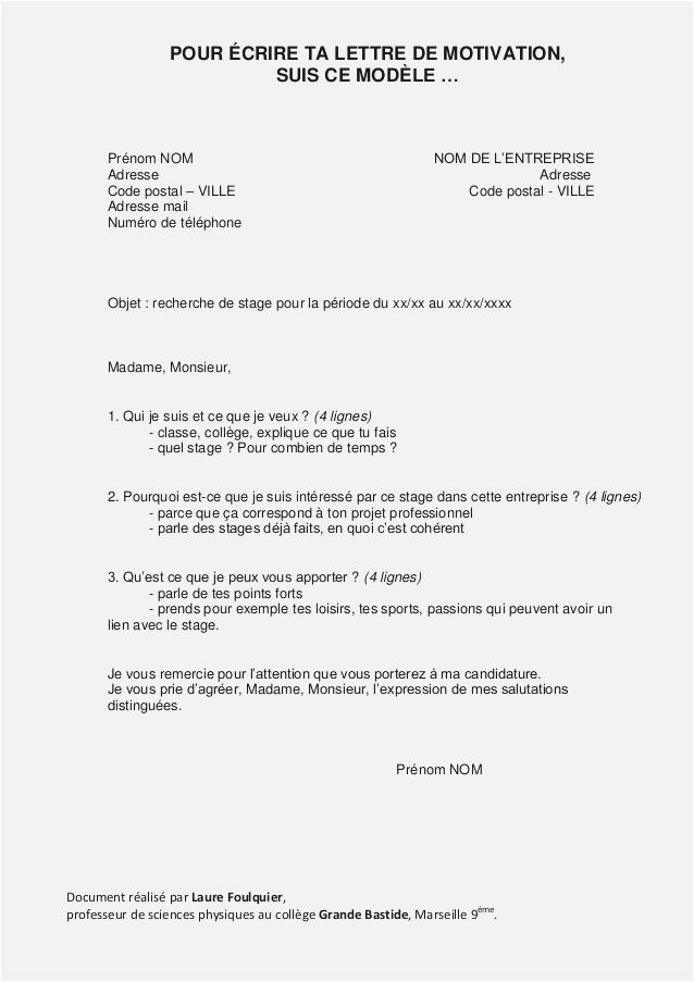 Collège Exemple Lettre De Motivation Stage 3ème