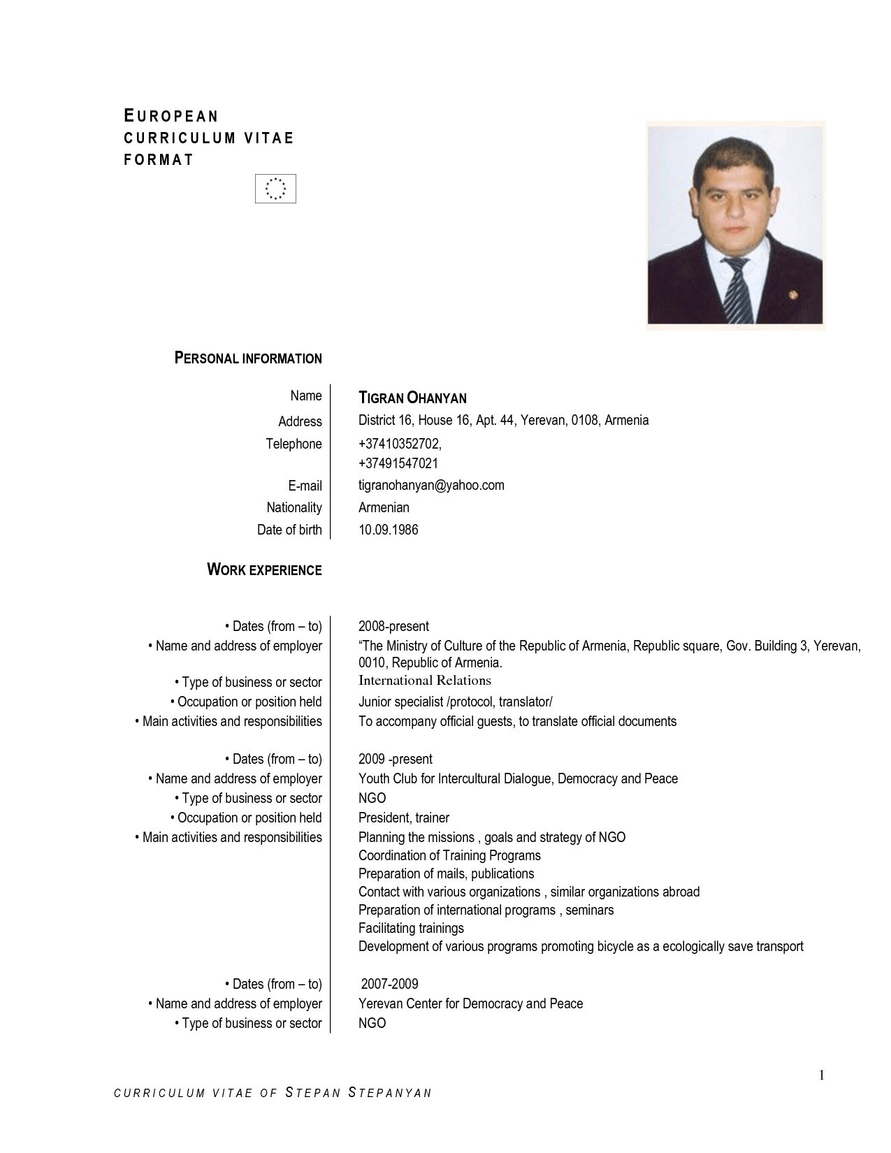 European Cv Format For Students Schön English Resume Sample Doc New Europ Example