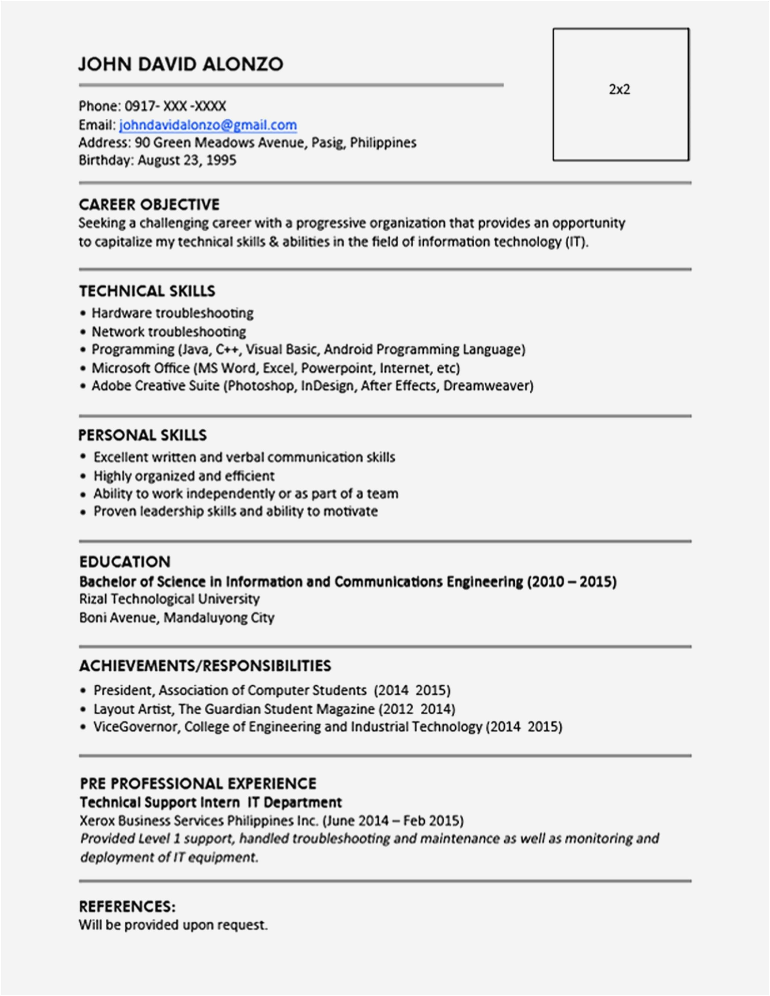 exemple de cv maroc pdf gratuit