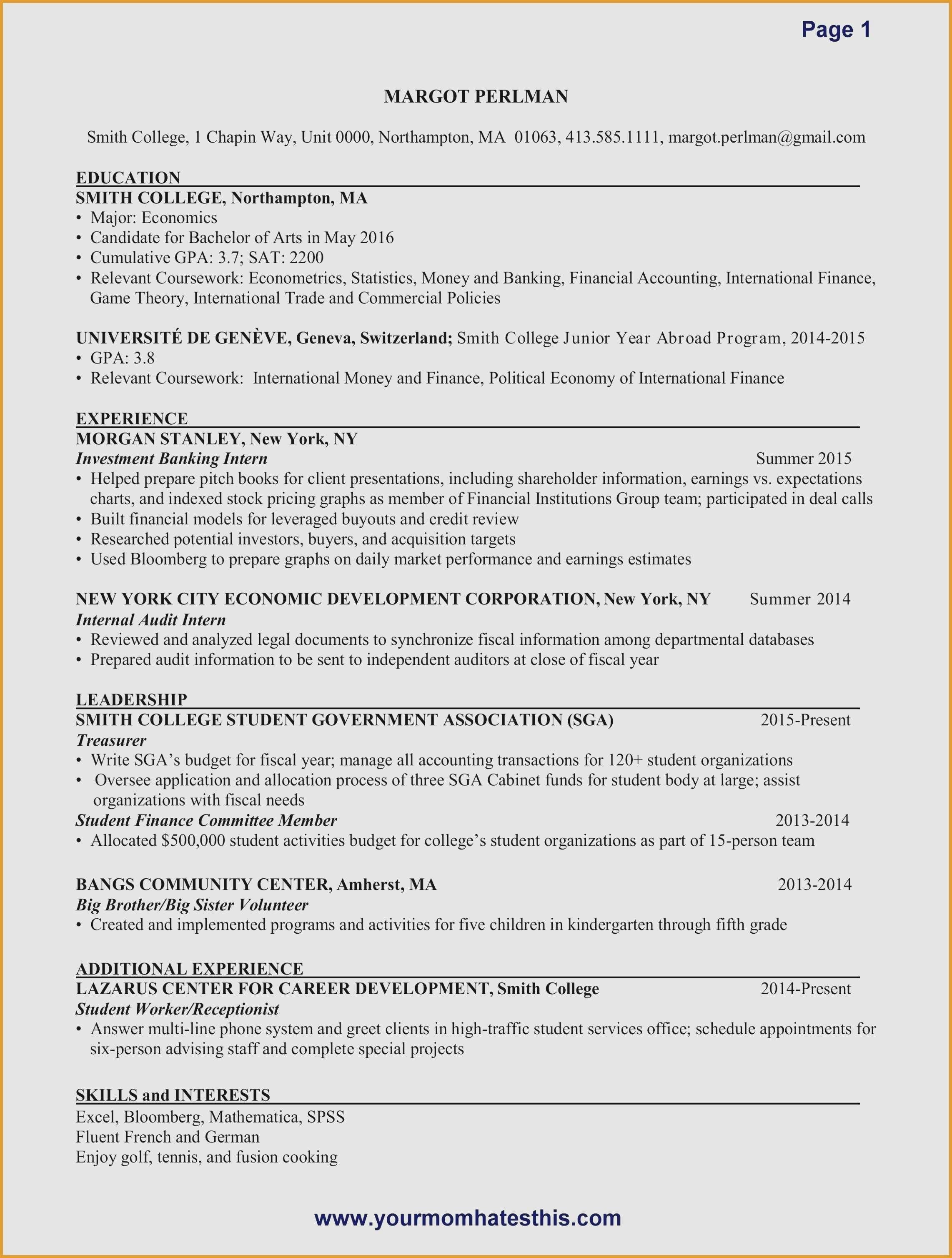 Investment Banking Internship Cv Example Einzigartig Bachelor Arts
