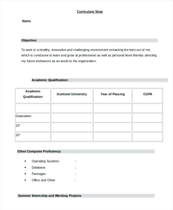 Normal Cv Format Download Elegant Resume Formats Word Simple For Freshers In