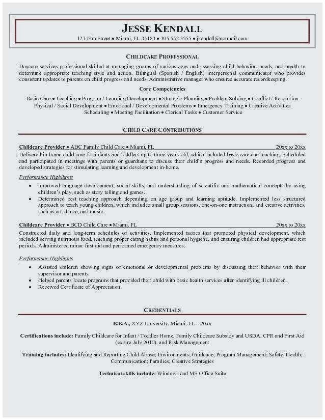 Professional Cv Format For Teachers Elegant Child Care Teacher