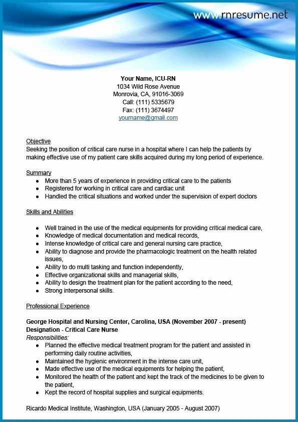 Registered Nurse Cv Sample Uk Grossartig Good Critical Care