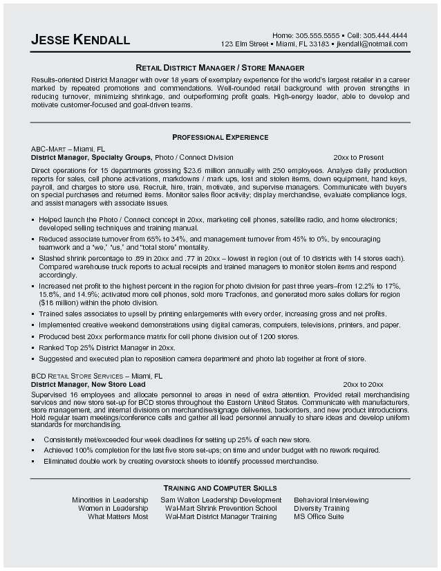 Sales Manager Cv Example Einzigartig 25 New Retail District Resume Sample Graphs