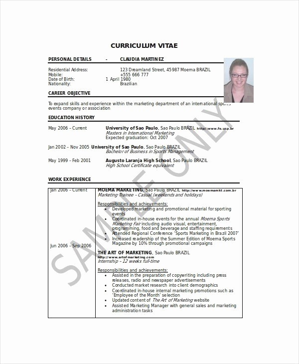 Undergraduate Student Curriculum Vitae Sample for Student
