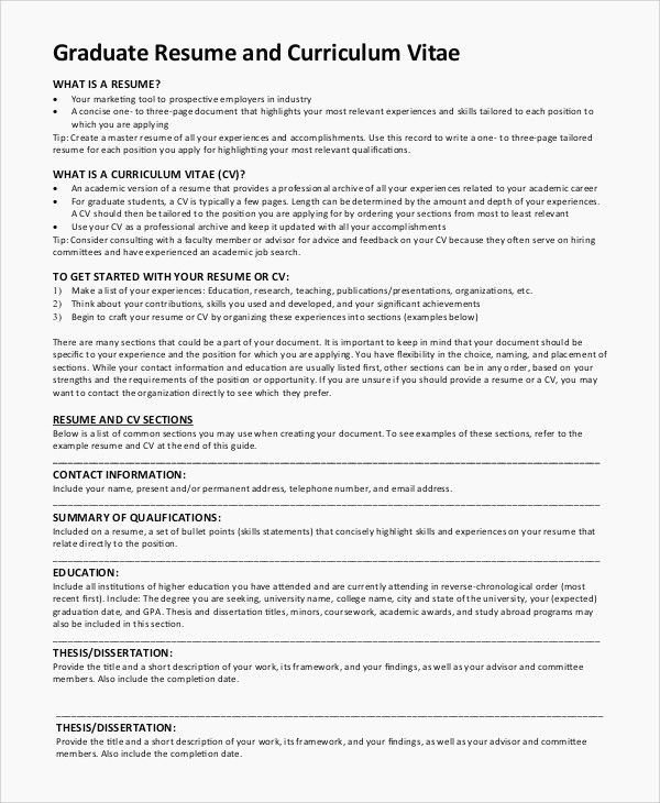 University Graduate Cv Example Schon How To Write Achievements In