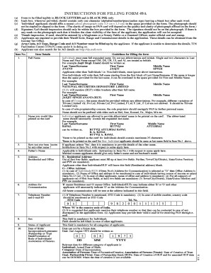 Pan Card Application Form 49aa Pdf