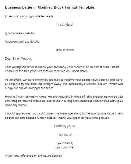 43 Modified Block Form Letter