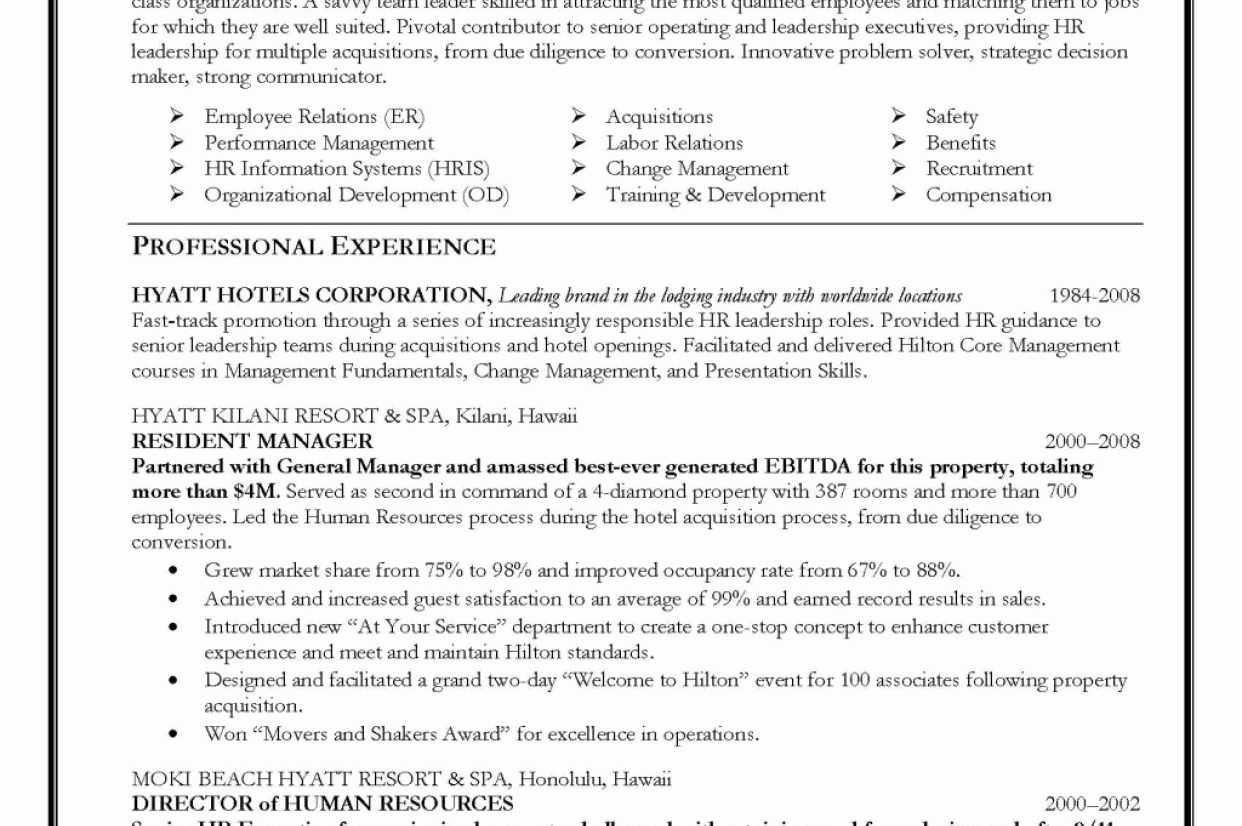 Hospitality Management Cv Examples Hermoso Hyatt Hotel