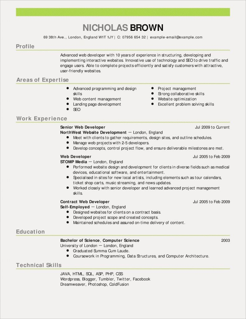 New Cv Template 2018 Hermoso Resume Samples Puter Science New Resume ...