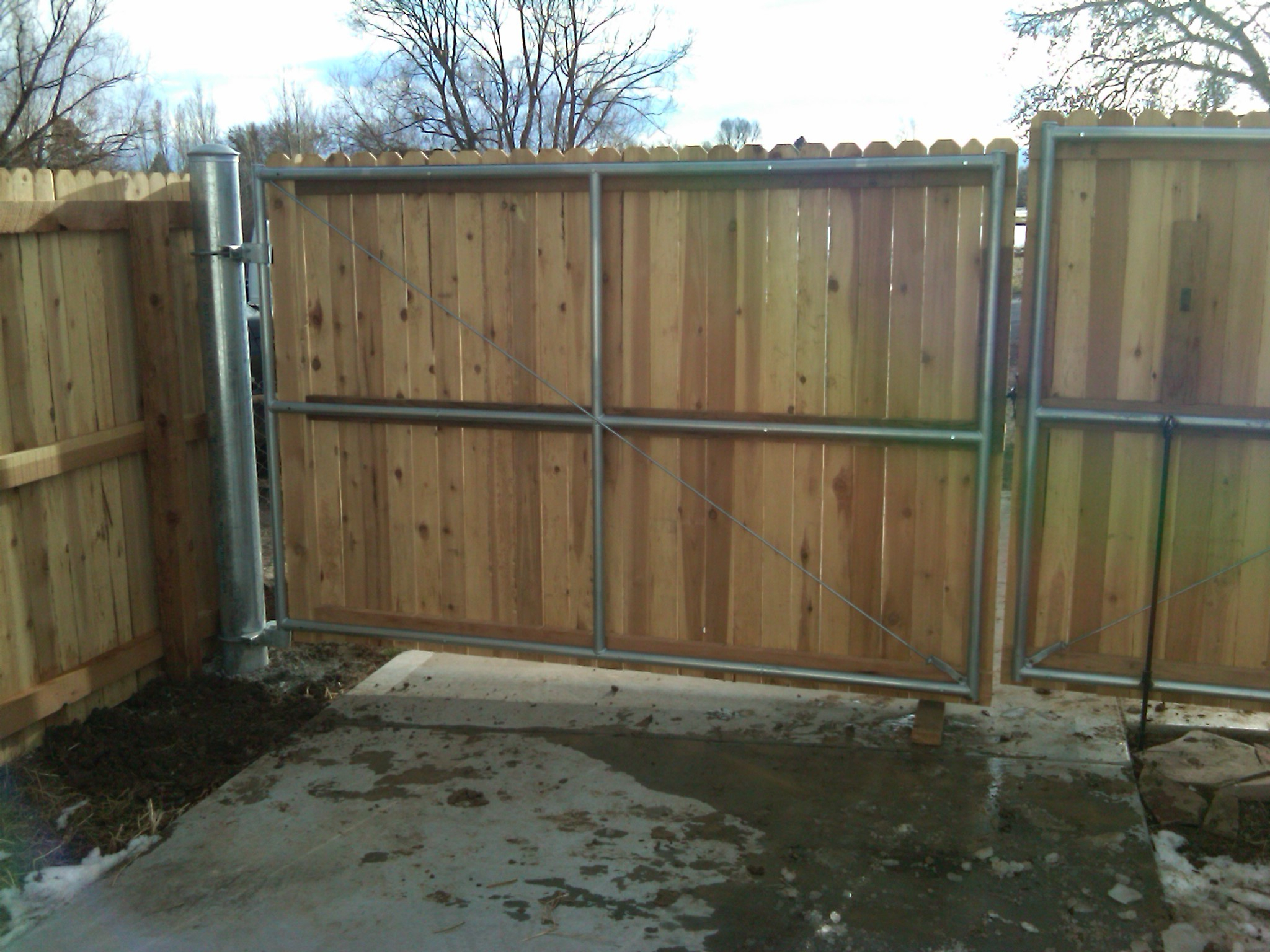 18x6 Wood Gate With Steel Frame And Posts Andrew Thomas regarding measurements 2048 X 1536