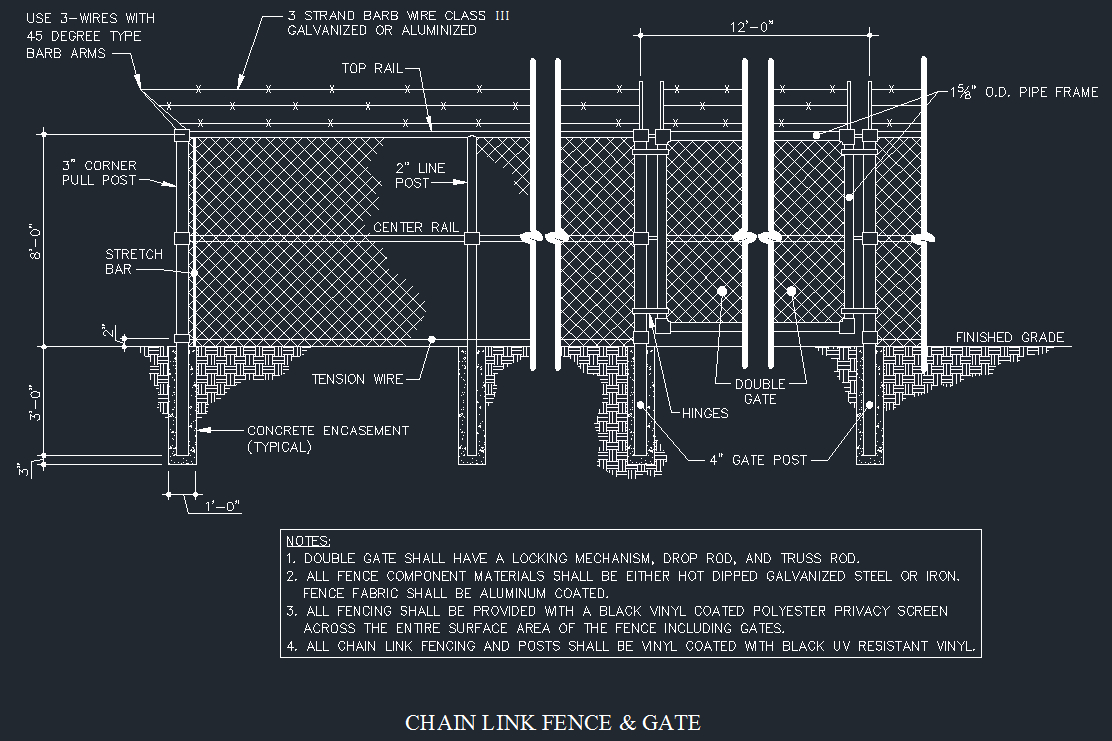 Standard Chain Link Fence Drawings Fences Design