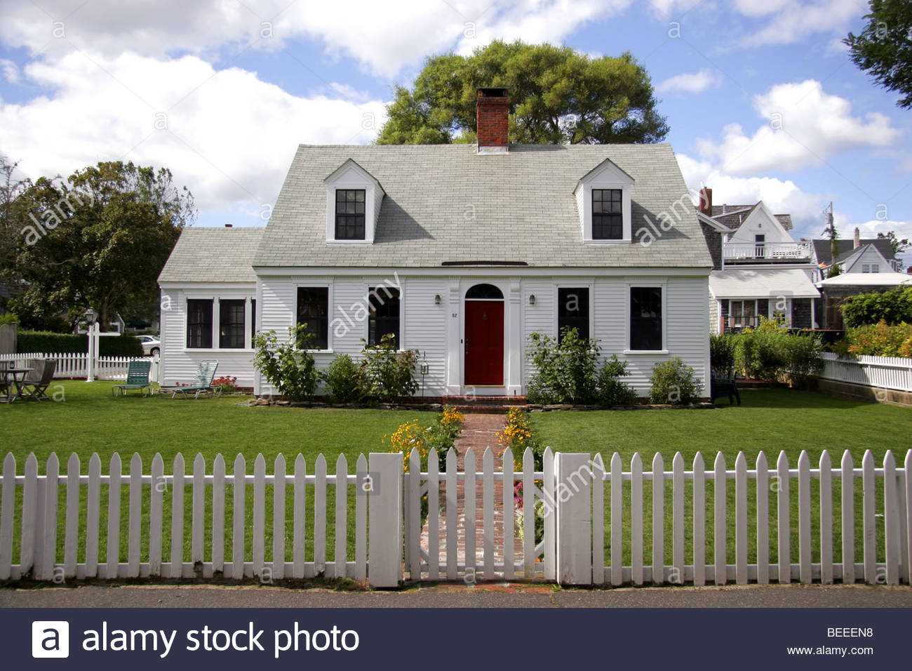 White Picket Fence Cape Cod Stock Photos White Picket Fence Cape throughout measurements 1300 X 956