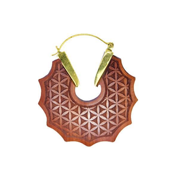Brinco Madeira Flor da Vida Geometria Sagrada