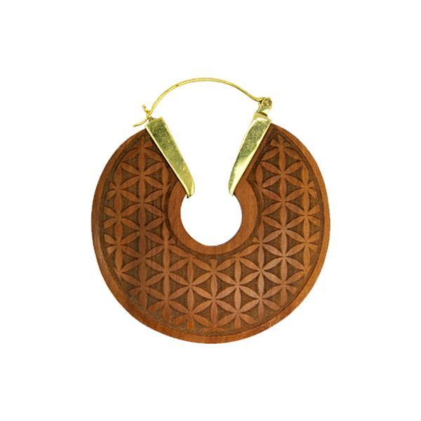 Brinco Tribal Madeira Geometria Sagrada Flor da Vida