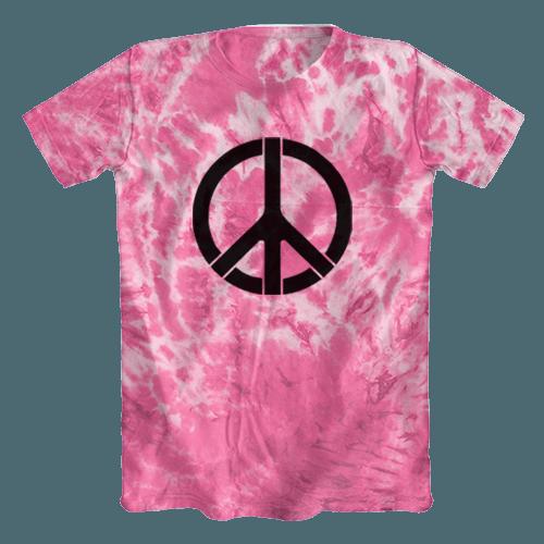 b487b8298e Camiseta Tie Dye Psicodélica Símbolo da Paz Rosa