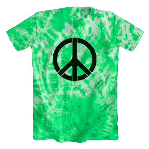 2c5a86672d Camiseta Tie Dye Psicodélica Símbolo da Paz Verde Clara