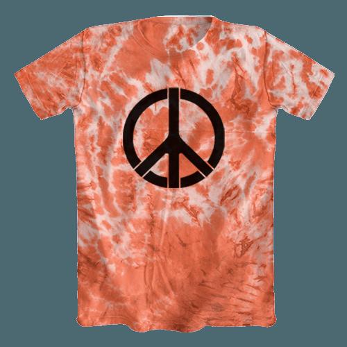 Camiseta Tie Dye Psicodélica Símbolo da Paz Vermelha