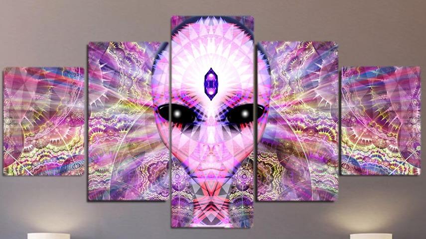 Conjunto Quadro Psicodélico - Alien Fractais