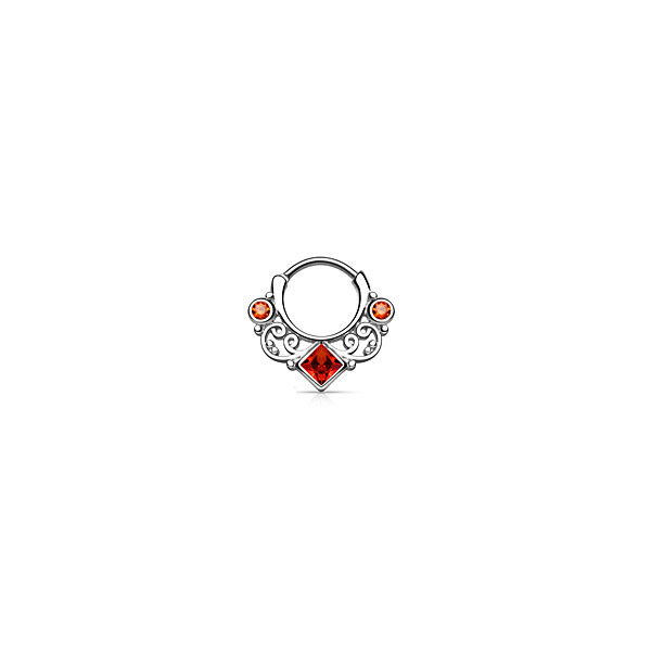 Piercing Septo Adornos Pedras Vermelhas Aço Clicker