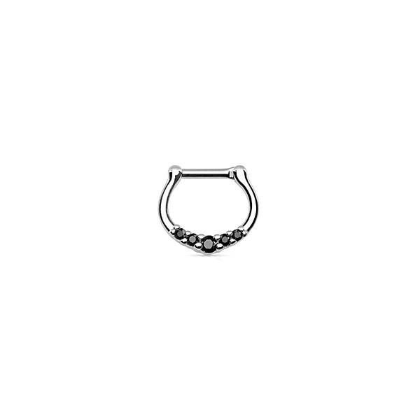 Piercing Septo Delicado Pedras Pretas Aço Clicker