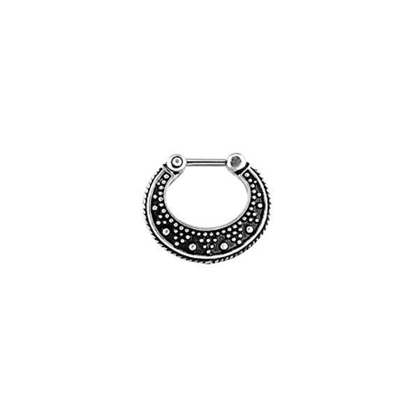 Piercing Septo Tribal Grande Preto Aço Clicker