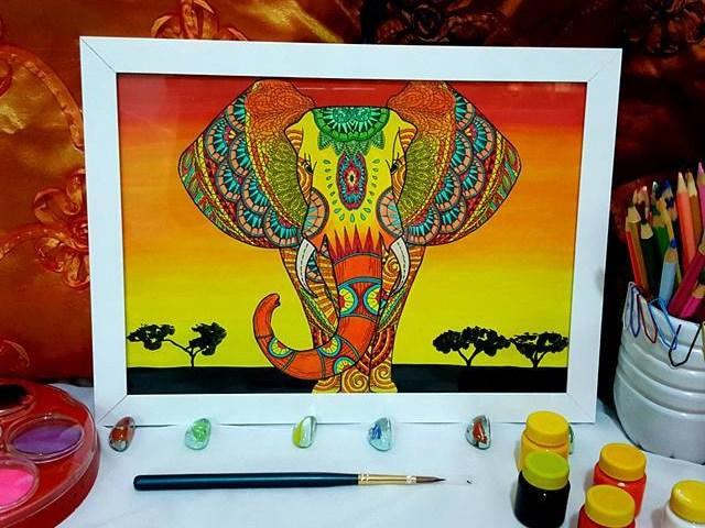 Quadro Psicodélico - Elefante Em Aquarela - 21x30cm
