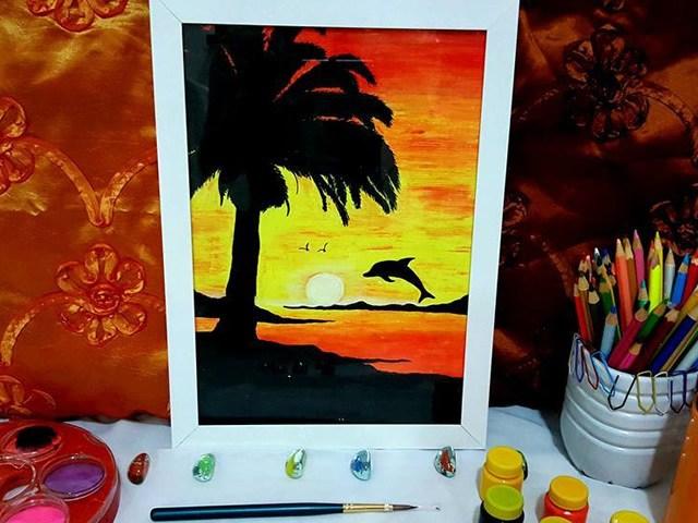 Quadro Psicodélico - Golfinho em Oil Pastel -  21x30cm