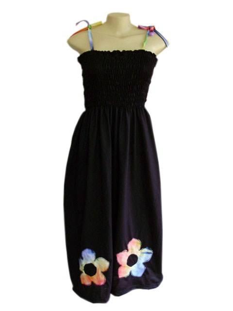 Vestido Lastec Tie-Dye Preto Flor Psicodélica 020